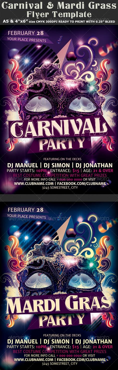 Carnival N Mardi Gras Party Flyer Template V2 Graphicriver Bash Flyer Template V2