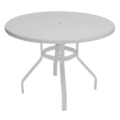White Patio Dining Table Marco Island 42 In White Commercial Fiberglass