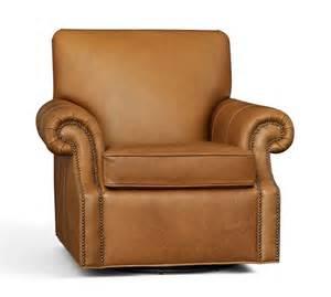leather swivel armchair pottery barn