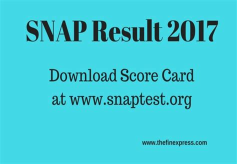 Mba Result 2017 Pune by Snap Results 2017 Snap Score Card Released At Snaptest