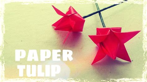 How To Make A Construction Paper - easy origami tulip flower folding step by