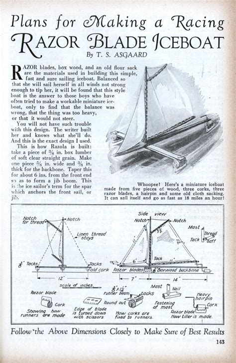 wooden ice boat plans plans for making a racing razor blade iceboat modern