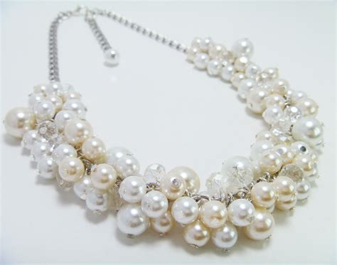 pearls for jewelry pearl cluster necklace white ivory pearl necklace chunky