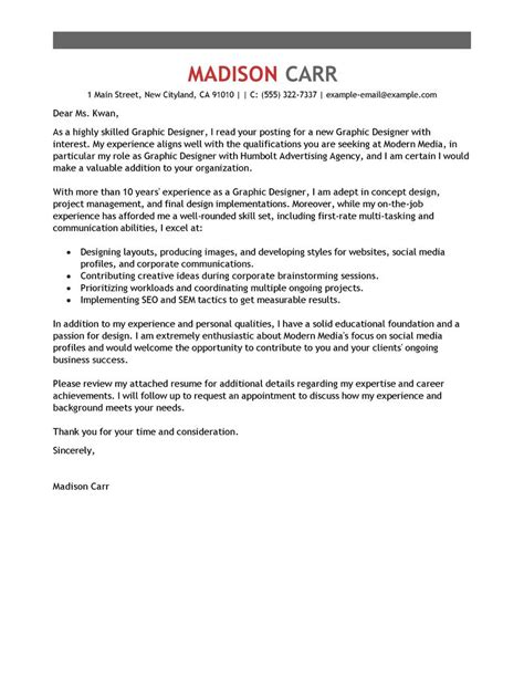 Cover Letter Exle Graphic Design Best Graphic Designer Cover Letter Exles Livecareer