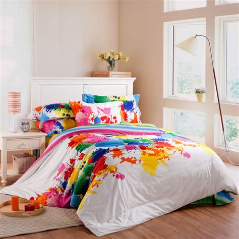 Colorful Quilt Bedding Colorful Floral Reactive Satin Stripe Print 4pcs Set