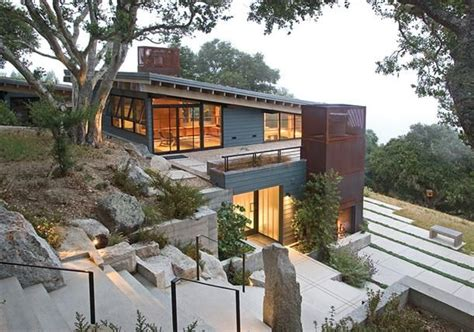 modern hill house designs beautiful modern natural house design in hill with rooftop