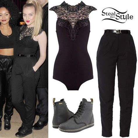 perrie edwards lace shirt perrie edwards lace bodysuit black pants steal her