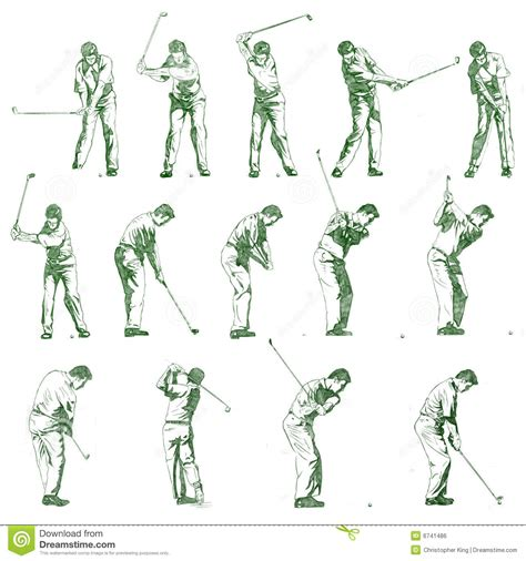 phases of golf swing golf swing stages hand drawn illustration royalty free