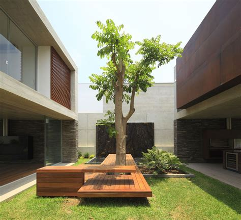 bench around a tree design airy peruvian double bridge structure house modern house