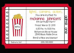 4 fabulous movie theme invitations for a birthday party