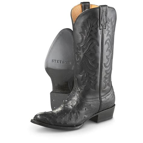black cowboy boots s stetson 174 quill ostrich leather cowboy boots