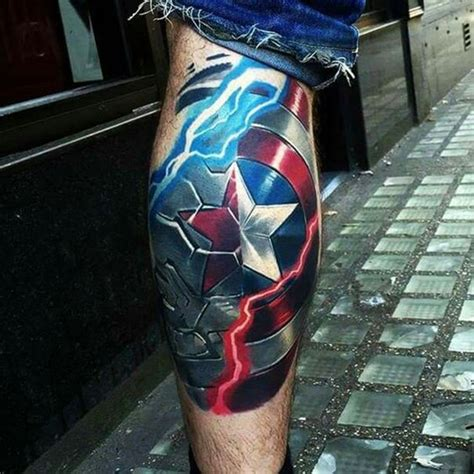 captain america shield tattoo 40 mightiest marvel comic designs