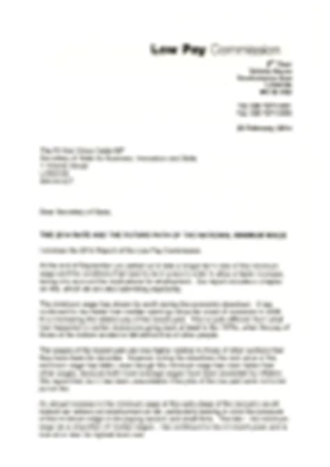 Resignation Letter Minimum Wage Letter To Vince Cable On The National Minimum Wage Gov Uk