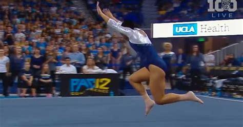 college gymnast entertains crowd with floor routine