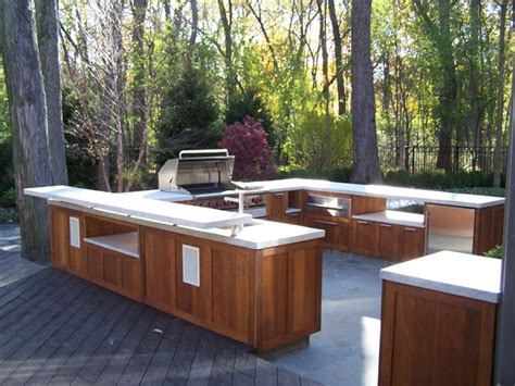 shaker style wood outdoor kitchen traditional patio