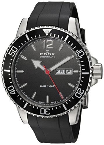 rubber st ch edox mens chronorally s quartz stainless steel and rubber