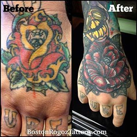 hand tattoo cover up cover up by boston rogoz tattoos