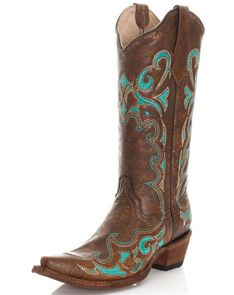 corral womans boots corral s 13 quot circle g embroidered snip toe boots brown