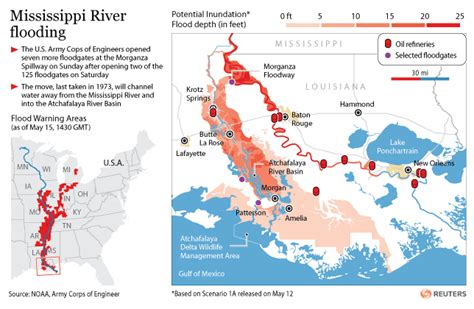 louisiana map flooding new maps of mississippi river atchafalaya river estimated