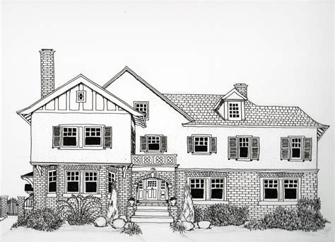 residential ink home design drafting anytime pen ink house drawing and wedding by hartfordprints