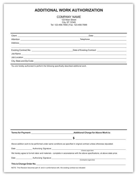 Electrical Forms Additional Work Order Template Free