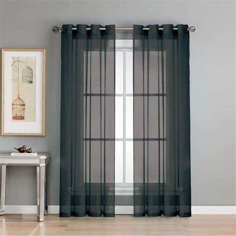 curtains for 8 foot wide window window elements sheer diamond sheer voile black grommet