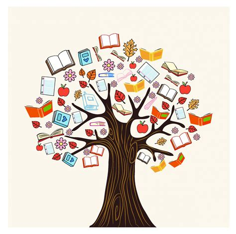 tree books diversity knowledge book tree free vector 4vector