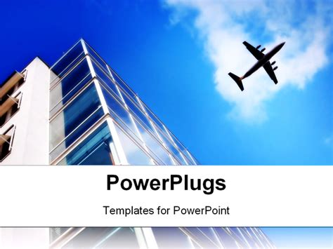 air powerpoint template skyscraper and a airplane powerpoint template background