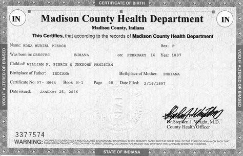 County Indiana Birth Records Tjl Genes Preserving Our Family History 4 1 16 5 1 16