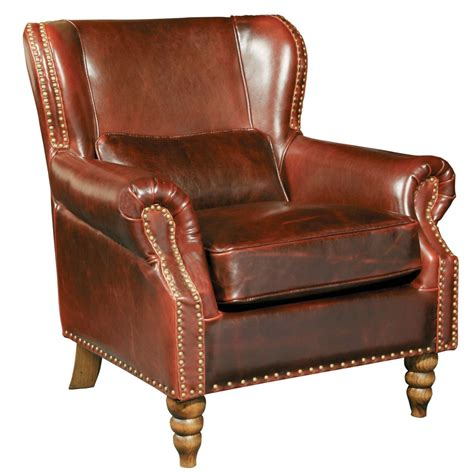 leather wing back chair living room furniture wingback brown genuine leather