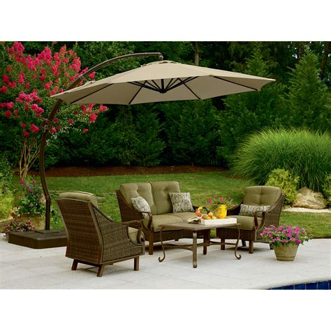 Patio Set Umbrella Garden Oasis Offset Umbrella 10ft Outdoor Living Patio Furniture Patio Umbrellas Bases