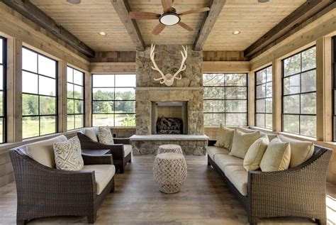 sunroom fireplace ideas usable in cool summer room