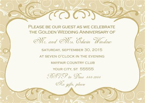 anniversary invitation cards templates free golden wedding anniversary invitation golden wedding