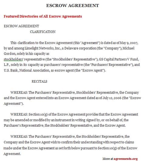 Escrow Agreement Sle Escrow Agreement Template Escrow Template