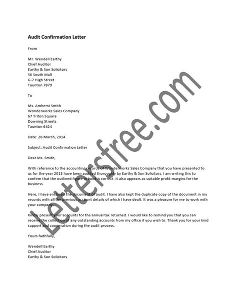 Confirmation Letter In Audit An Audit Confirmation Letter Is Usually Written By The Official Auditors Of The Company To