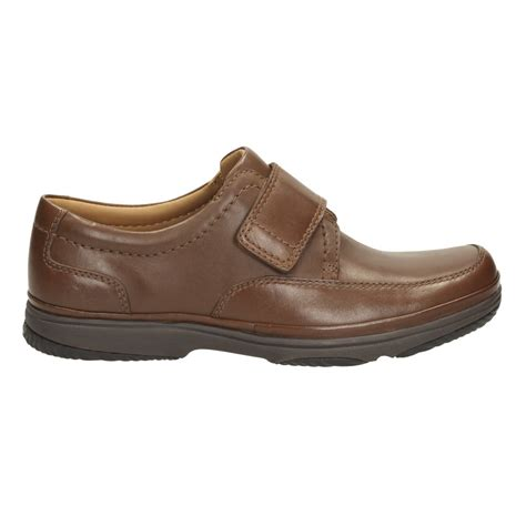 clarks mens turn brown leather velcro shoes
