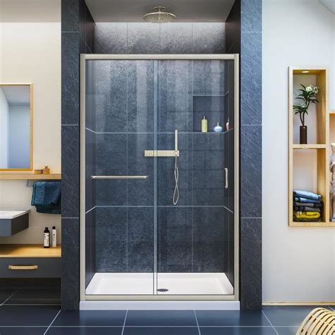 Lowes Shower Doors Sliding Shop Dreamline Infinity Z 44 In To 48 In W Frameless Brushed Nickel Sliding Shower Door At Lowes