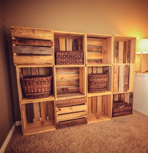 wood crate wall shelving made from reclaimed wooden