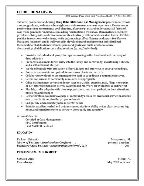 rehab resume resume sle rehabilitation manager