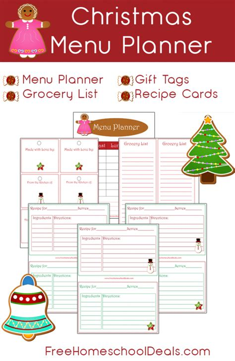 printable holiday meal planner free christmas themed menu planner printables set free