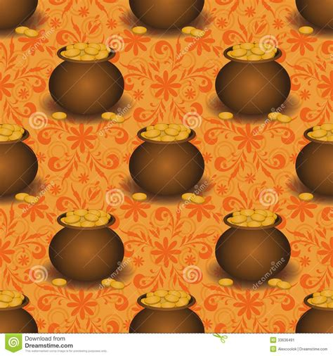 Pot Clay Gold Cactoon seamless background pots with gold vector