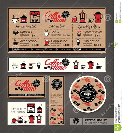 graphic design cafe menu coffee shop cafe set menu design template stock vector
