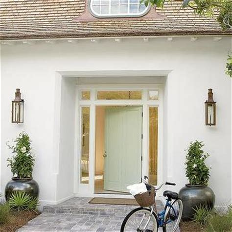 pale green front door planters in front of front door design ideas