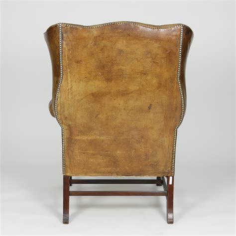 Brown Tufted Brown Tufted Leather 19th C Wingback Chair Ph