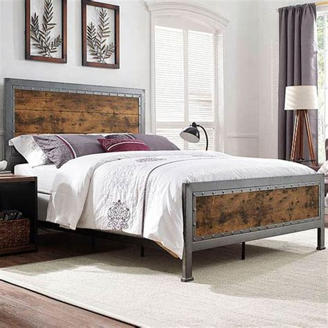 wood and metal bedroom sets industrial bedroom furniture bellacor