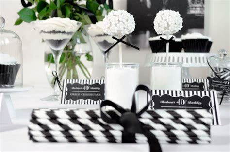 stylish black and white fortieth birthday party decor