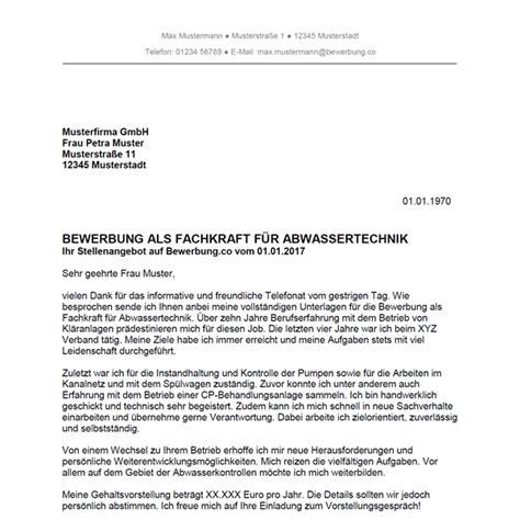 Anschreiben Bewerbung Bwl Absolvent bewerbung als fachkraft f 252 r abwassertechnik bewerbung co
