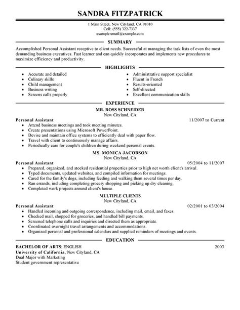resume format for personal personal assistant personal care services executive