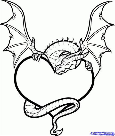 dragon heart coloring page broken heart drawings with dragons draw a dragon heart