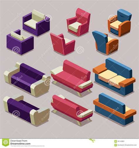 Isometric Furniture Drawing by Living Room Isometric Furniture Vector Set Sofa And